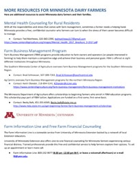 More Resources for MN Dairy Farmers
