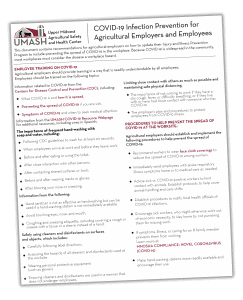 COVID-19 Infection Prevention for Agricultural Employers and Employee